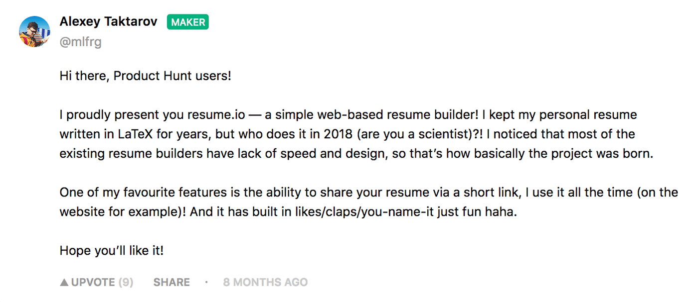 Maker's Message from Resume.io