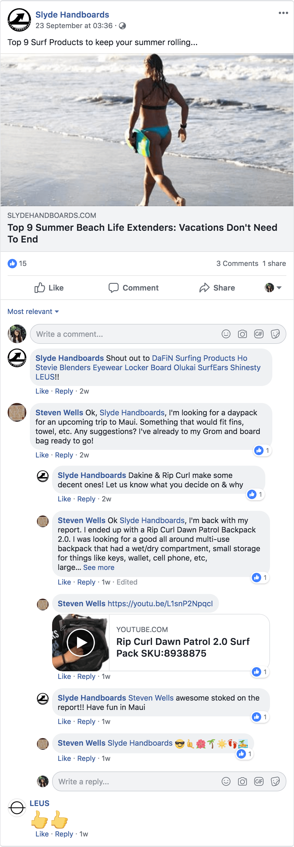 Slyde Handboards Responding To Comments On Facebook