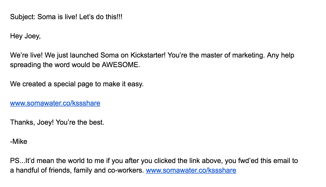 Soma Water Email
