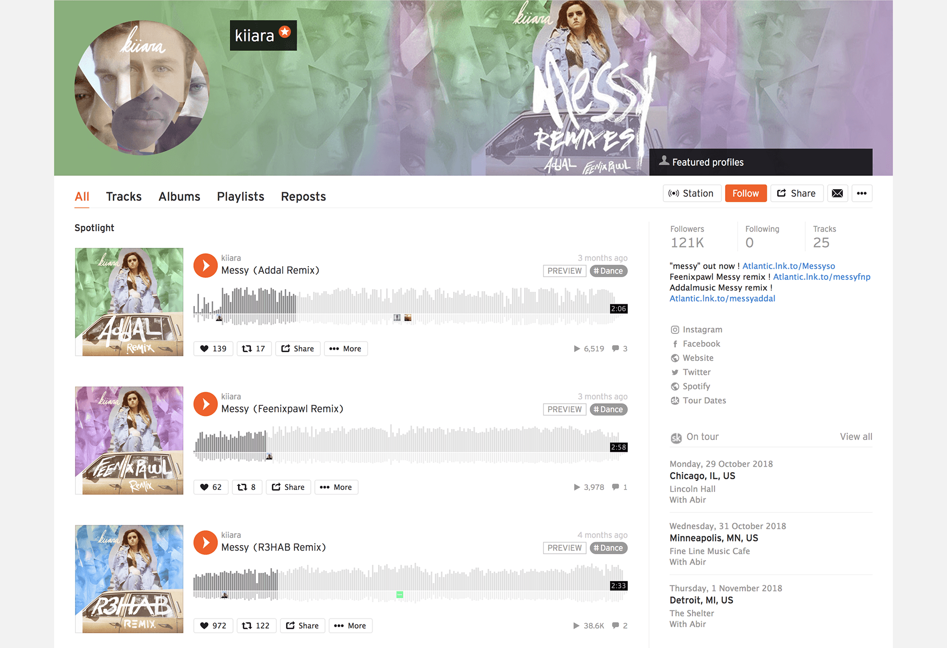 Songkick featured on SoundCloud profile