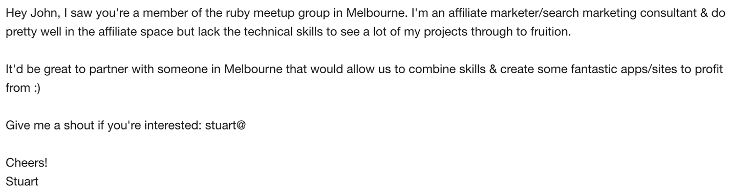 Find collaborators through cold emails