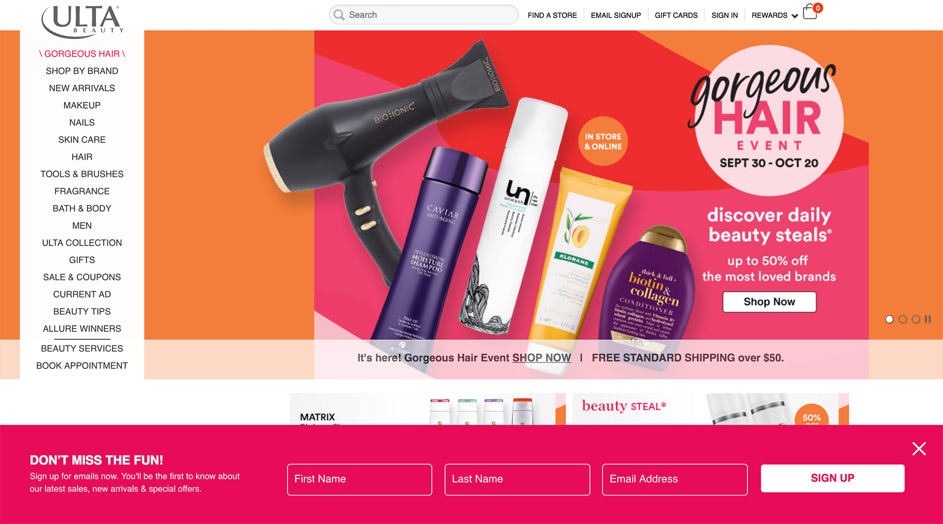 Ulta Beauty's Floating Opt-in