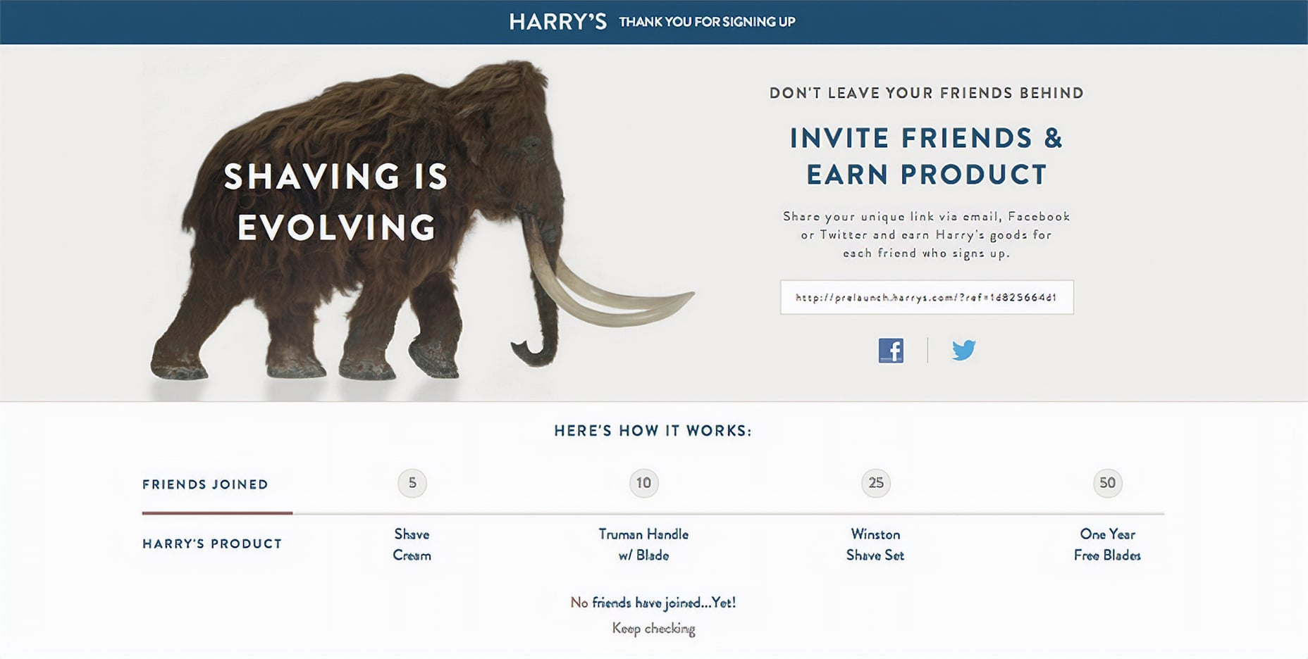 Harry's Pre-Launch Page