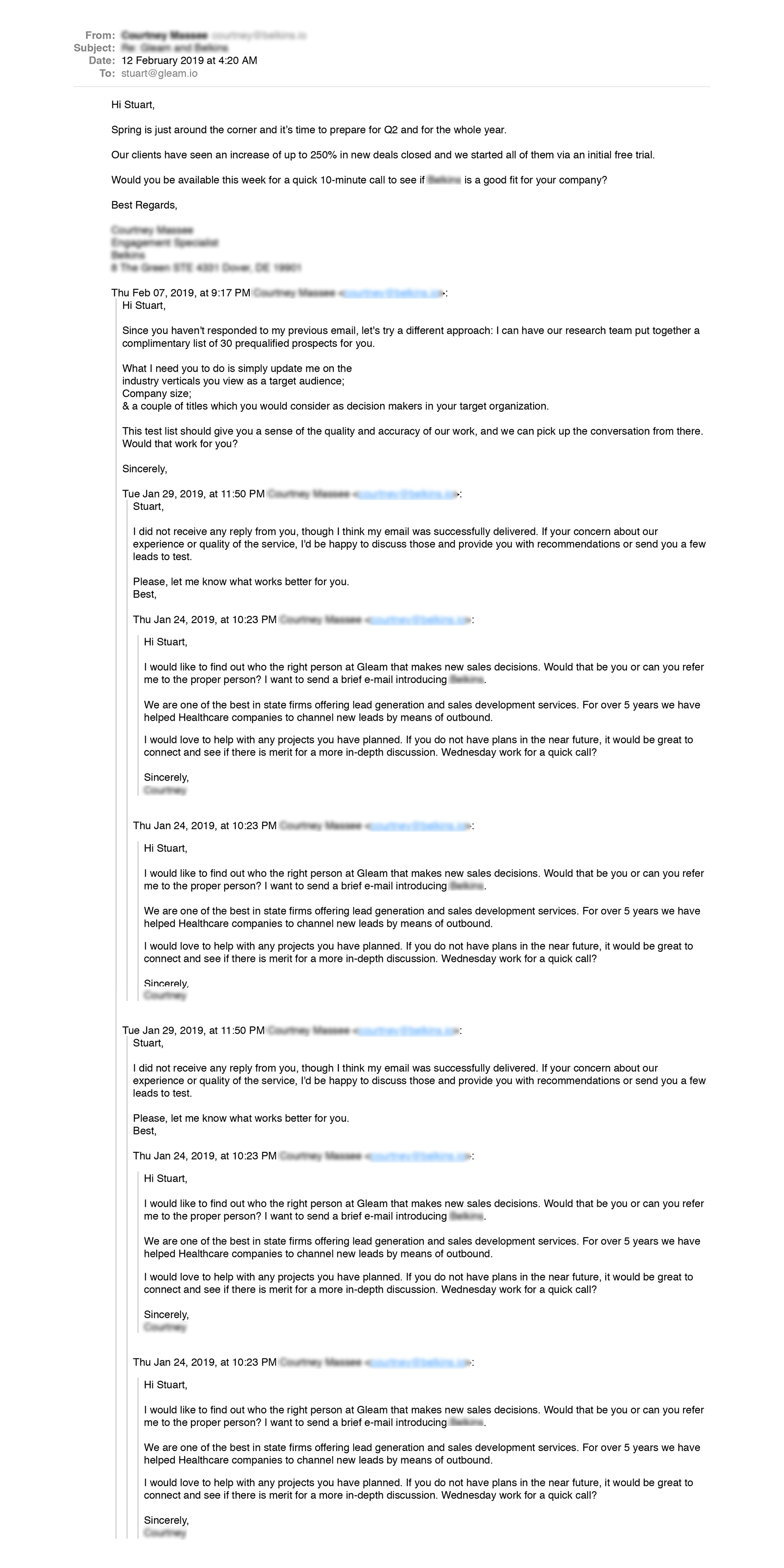 Don't spam with your follow ups