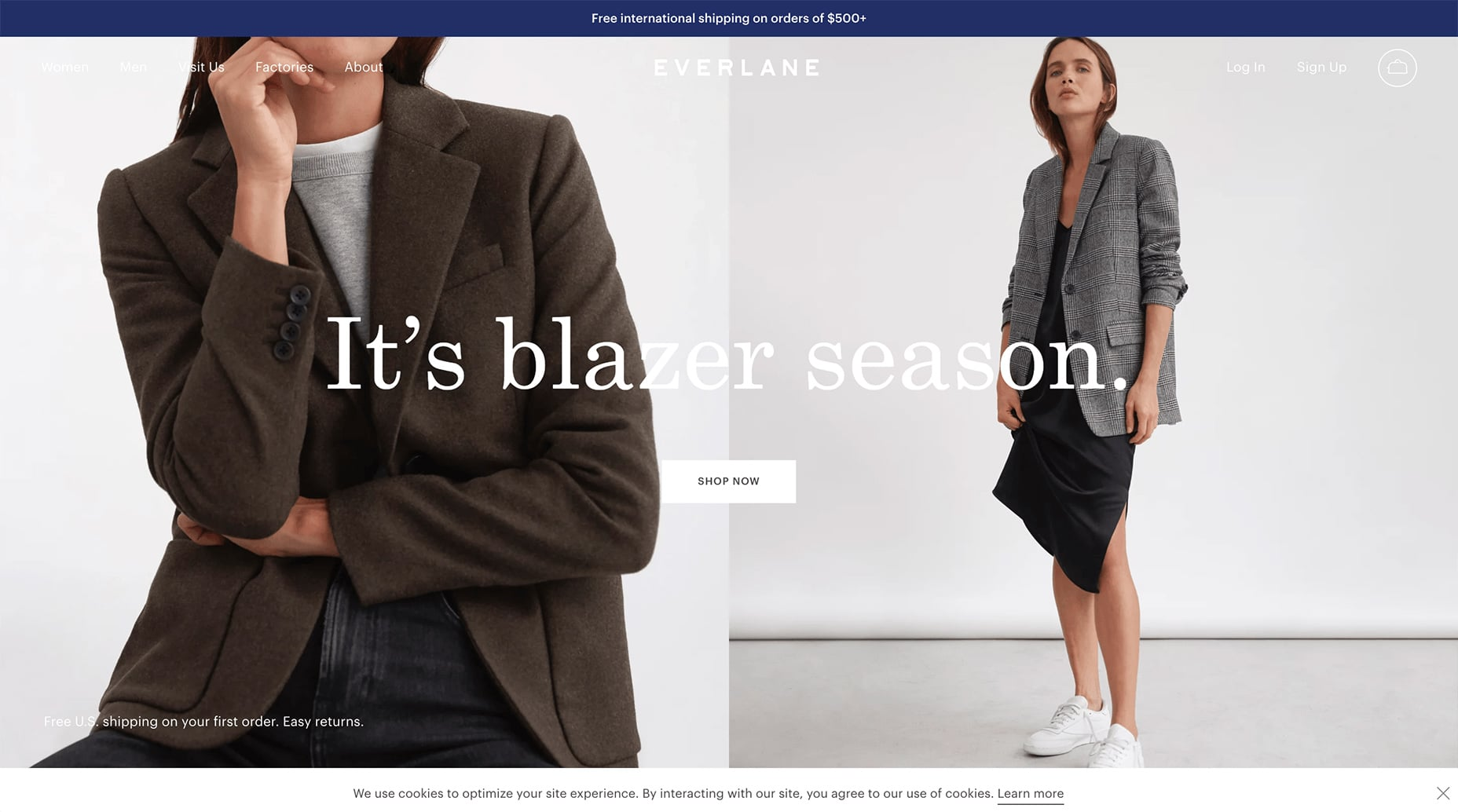 Everlane's Top Bar Opt-in