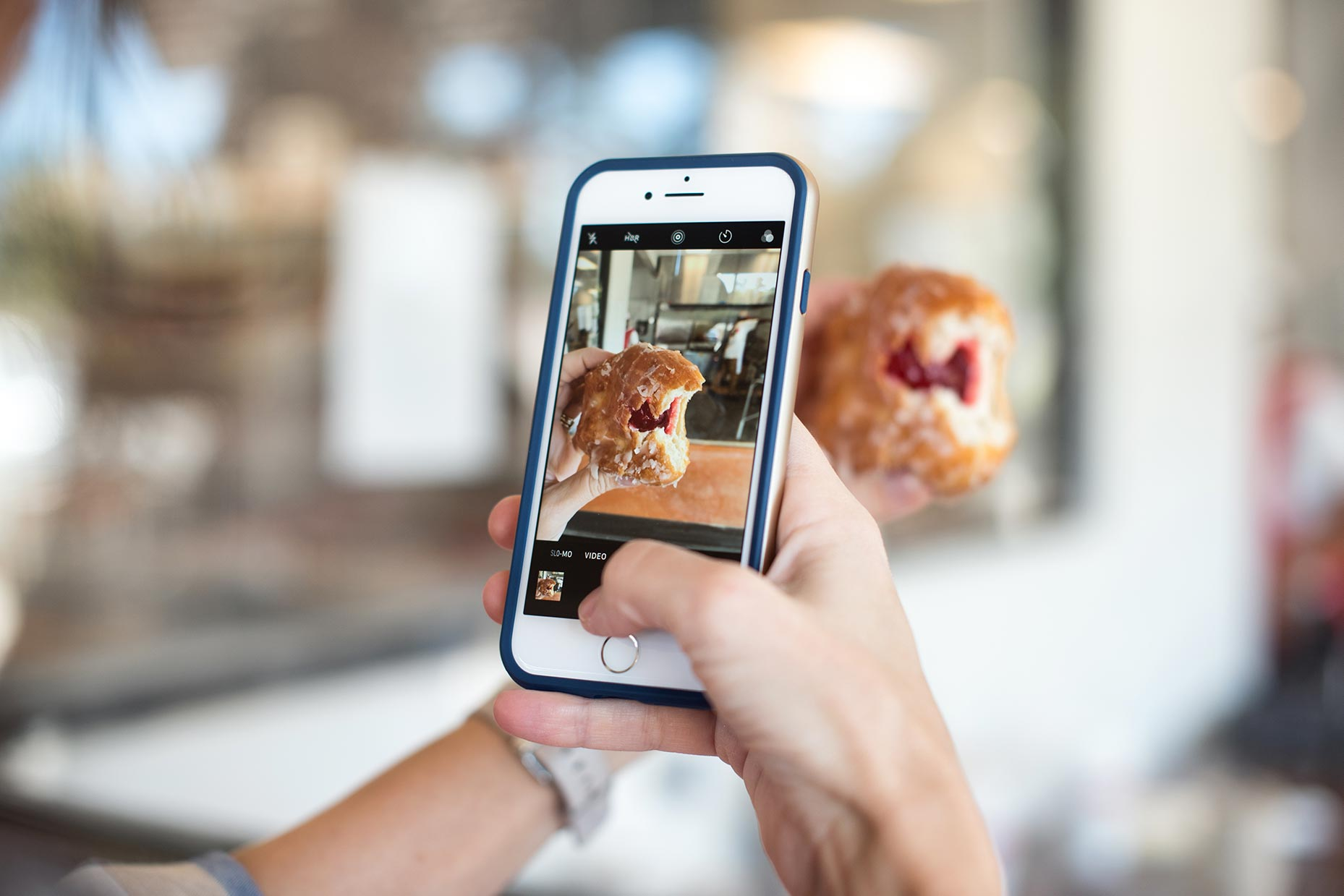 Snapping photo of food